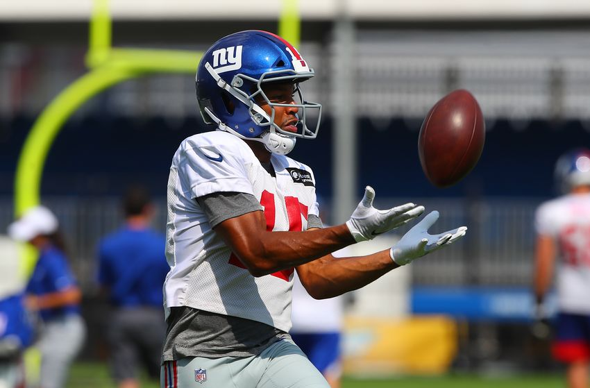 EAST RUTHERFORD, NJ - JULY 26: New York Giants wide receiver Golden Tate (15) during training camp on July 26 2019 at Quest Diagnostics Training Center in East Rutherford, NJ. (Photo by Rich Graessle/Icon Sportswire via Getty Images)