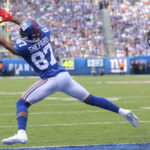 New York Giants' Sterling Shepard completely...