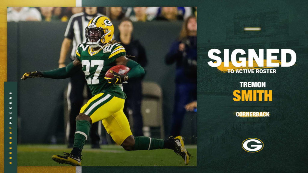 Packers sign CB Tremon Smith to active roster