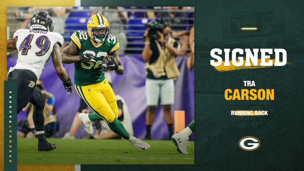 Packers sign RB Tra Carson to active roster from...