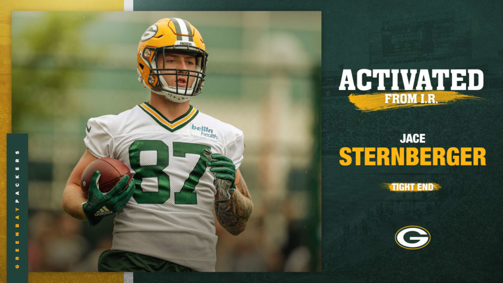 Packers activate TE Jace Sternberger from injured...