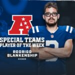 Colts kicker Rodrigo Blankenship has been named...