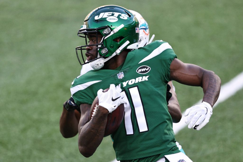 Jets hoping Denzel Mims' production can match...