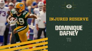 Packers place TE Dominique Dafney on injured...